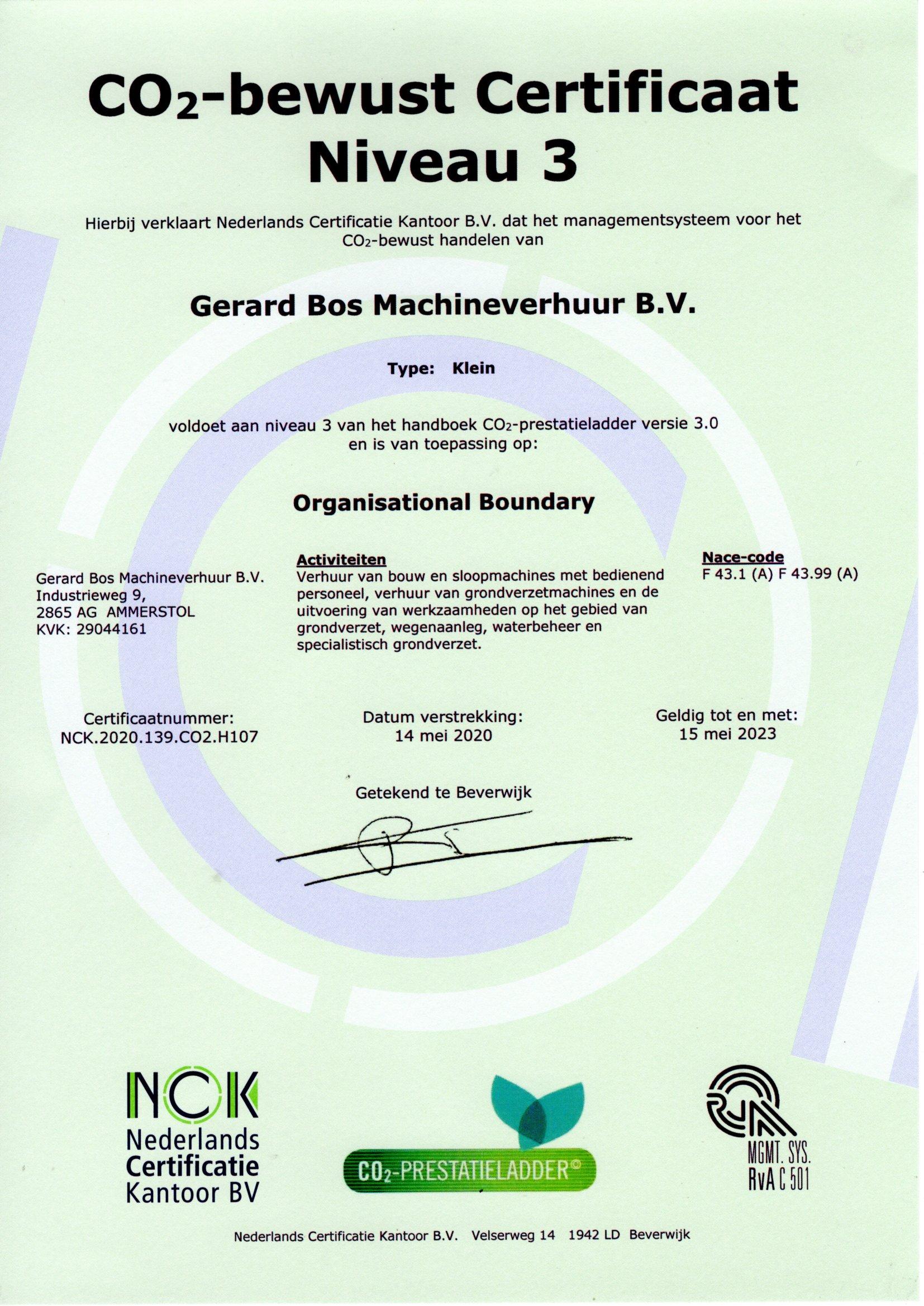 CO2-bewust Certificaat versie 3.0 geldig tm 15-05-2023